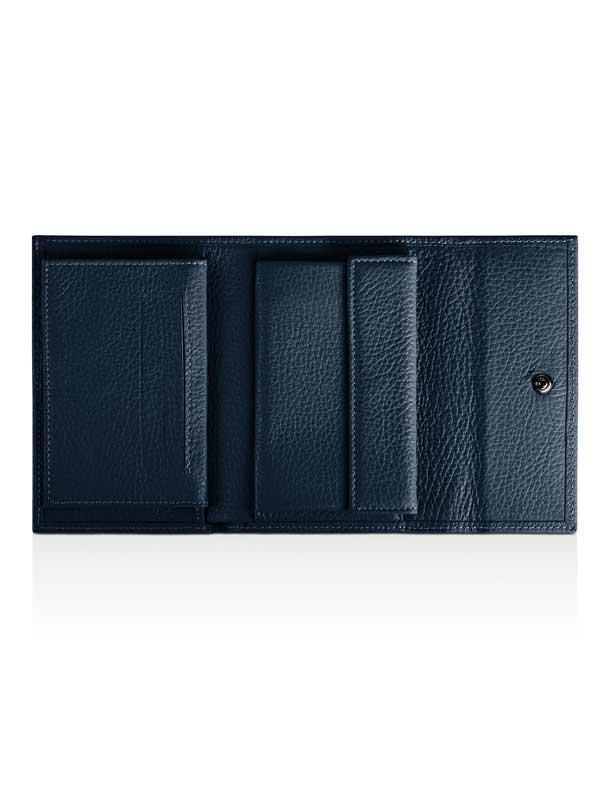 Portafoglio blu aperto