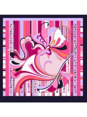 foulard in seta rosa e lilla