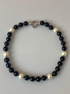 girocollo perle nere bianche