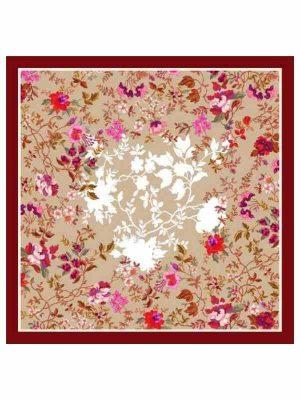 Foulard 90x90 flowers bordeaux