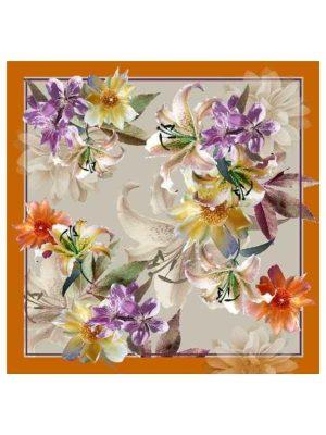 Foulard 90x90 flowers orange (1)