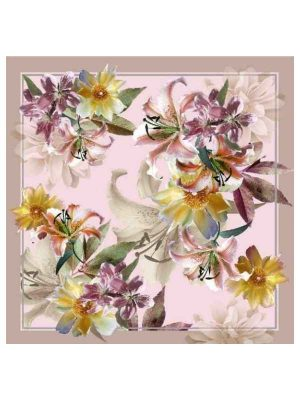 Foulard 90x90 flowers pink (1)