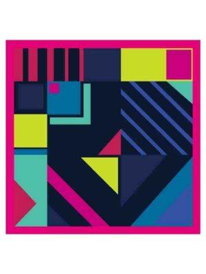 Foulard geometrico 53x53 fucsia