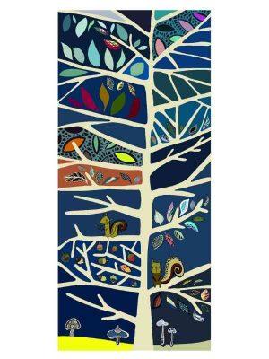 Sciarpa 90x200 tree blu